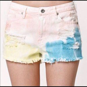 Gypsy Warrior Tie Dye Pastel Denim Shorts